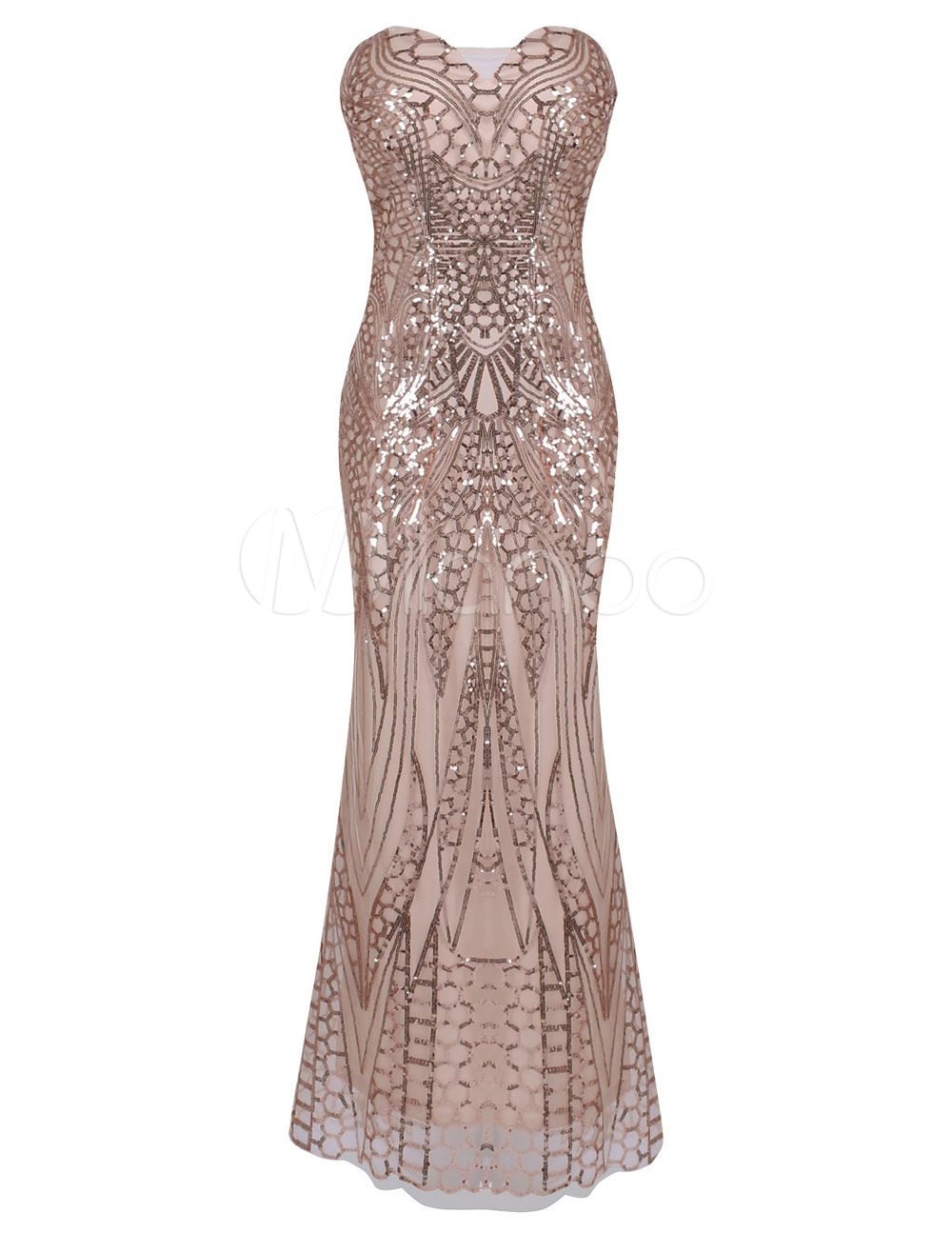 Great Gatsby Flapper Dress 1920s Vintage Costume Women's Champagne Sequined Meimaid Dress Halloween