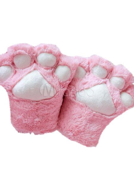 Kigurumi Pajama Cat Unisex Pink Faux Fur Gloves Halloween Costume Halloween