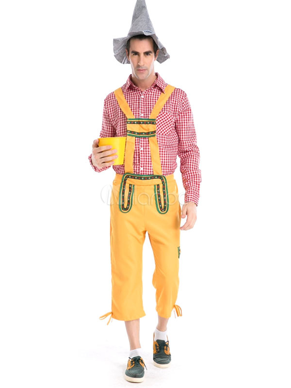 Buy Halloween Oktoberfest Costume Yellow Plaid Men's Pants With Top And Hat Halloween for $35.87 in Milanoo store