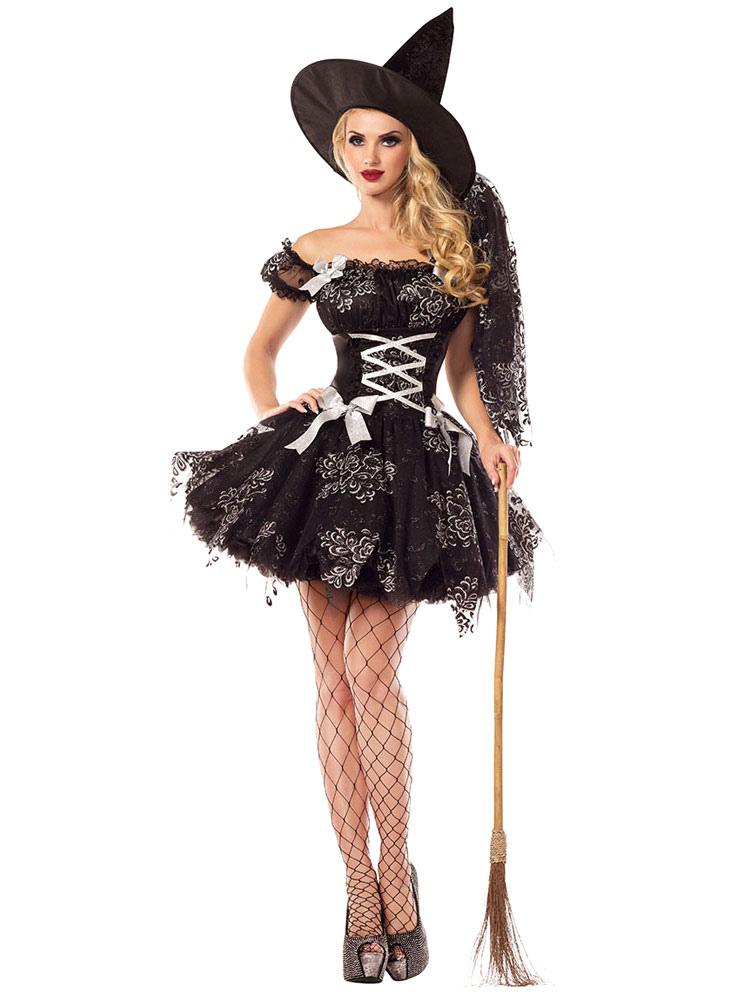 Disfraz de Mujer de poliéster negro de bruja Color liso para ...