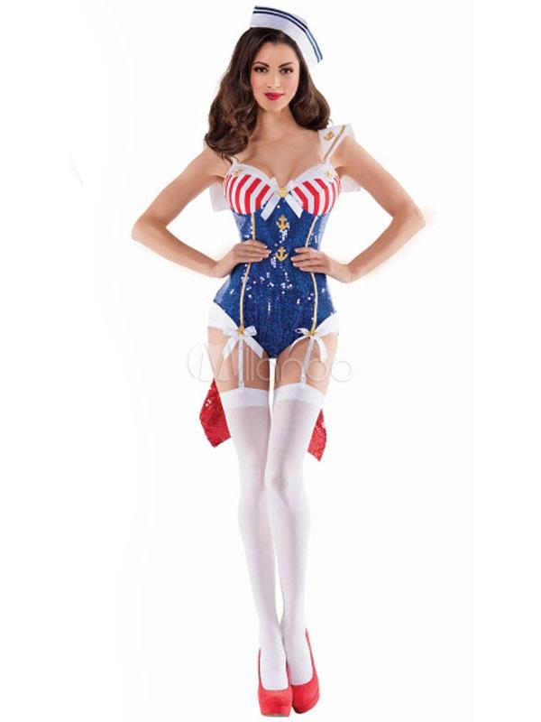Women's Halloween Costume Navy Sailor Sexy Color Block Jumpsuit With Hat Halloween