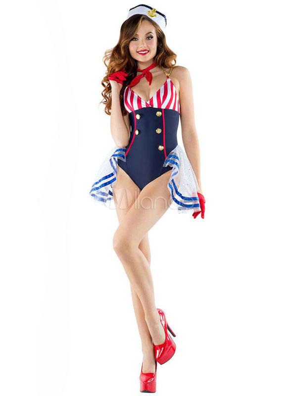 Sexy Sailor Costume Women's Navy Halloween Color Block Jumpsuit With Hat Halloween