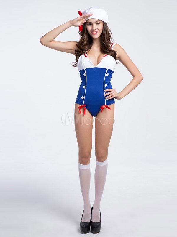 Buy Women's Sexy Costume Navy Sailor Color Block Halloween Jumpsuit With Hat Halloween for $25.99 in Milanoo store