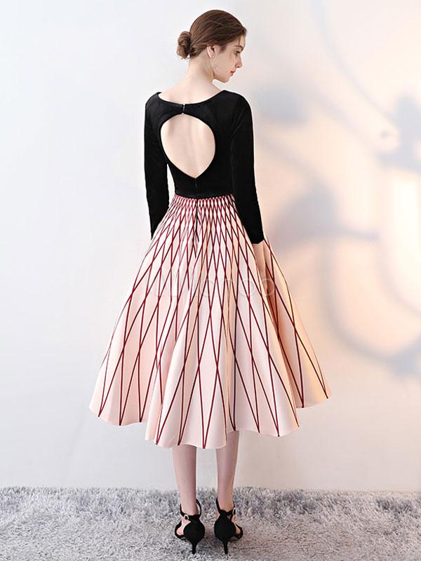 Black Cocktail Dresses Illusion V Neck Long Sleeve Keyhole Cut Out ...