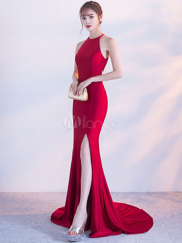 Burgundy Evening Dresses Sexy High Split Halter Formal Dresses Mermaid Back Cutoff Long Occasion Dress With Train