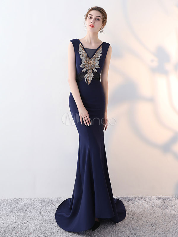 Buy Mermaid Evening Dresses Dark Navy V Back Formal Dress Crystal Beading Occasion Dresses With Train for $131.12 in Milanoo store