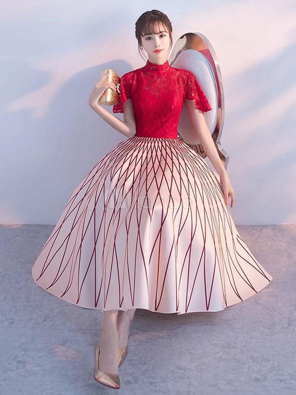 d3d956f858 ... Vintage Cocktail Dresses Lace Burgundy Contrast Color Tea Length Stand  Collar Short Party Dresses-No ...