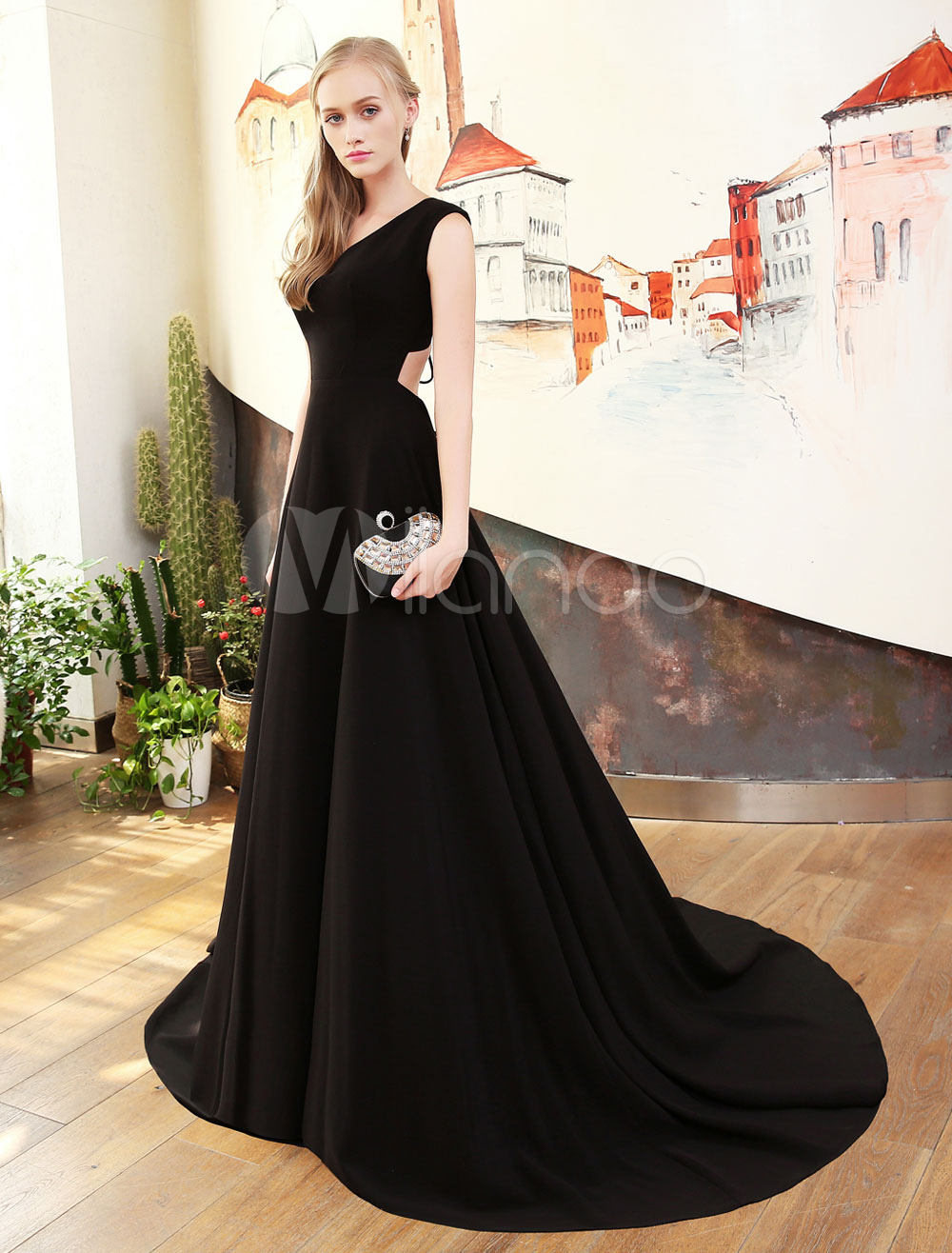 Black Prom Dresses V Neck Satin Evening Dresses Back Cutoff Lace Up Formal Party Dress With Train
