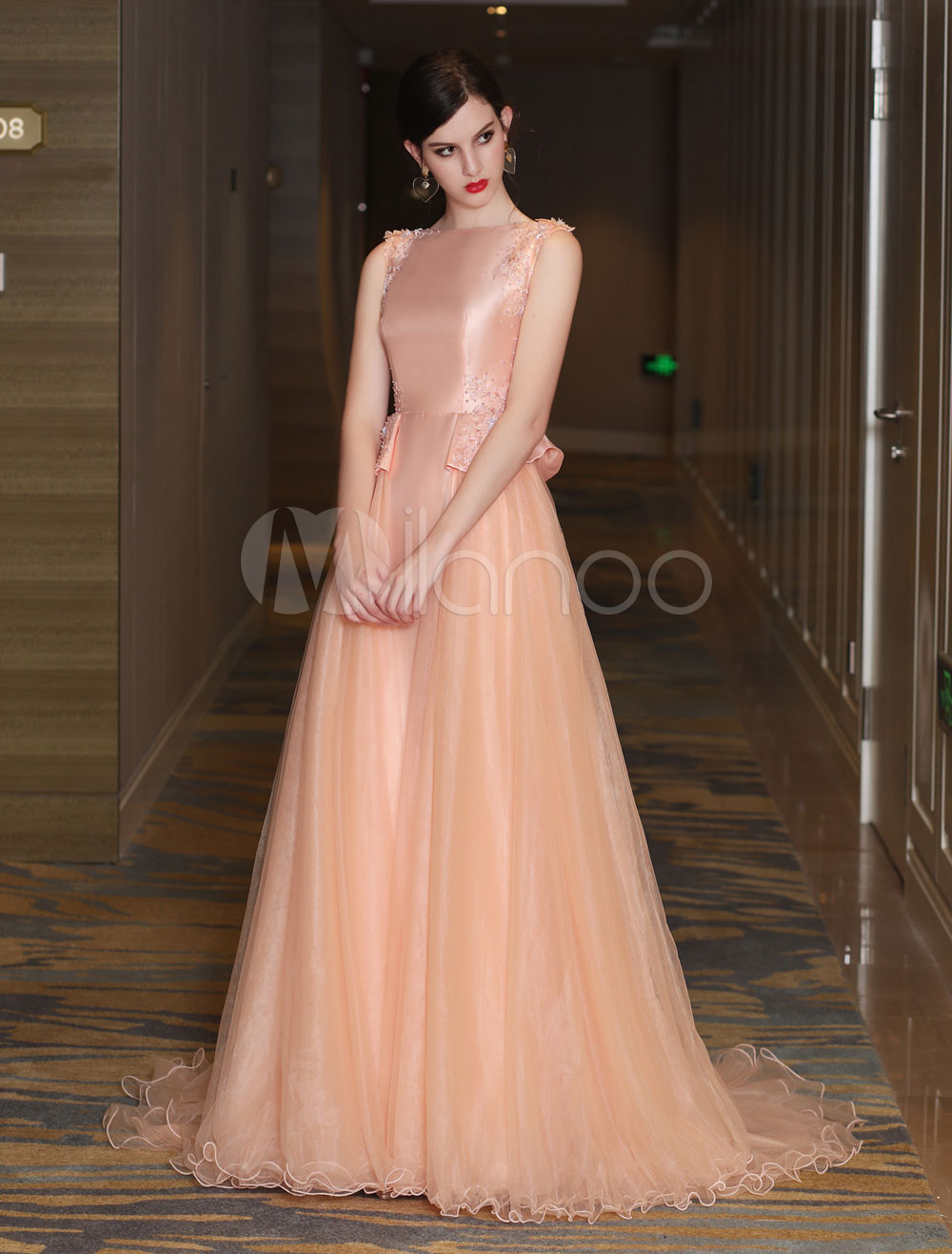 Buy Peplum Prom Dress Long Luxury Evening Dresses Satin Tulle Bateau Lace Applique Beading Orange Formal Dresses With Train for $289.79 in Milanoo store