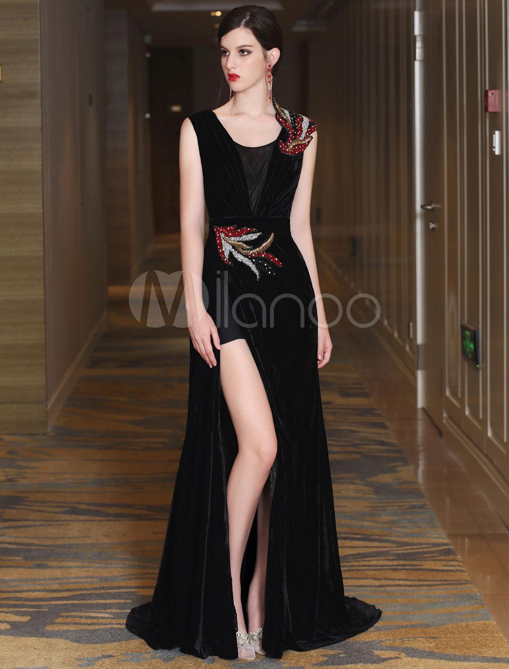 1cbc442afba3 Vestiti da sera del velluto il nero sexy di lusso che divide i vestiti  convenzionali del ...