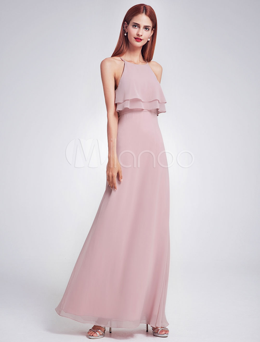 Buy Chiffon Bridesmaid Dress Long Halter Sleeveless Layered Prom Dresses Cameo Pink A Line Floor Length Party Dresses for $109.99 in Milanoo store