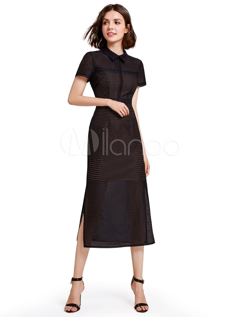 Buy Black Cocktail Dress Short Sleeve Cut Out Split Backless Party Dresses Turndown Collar A Line Tea Length Occasion Dresses for $70.39 in Milanoo store
