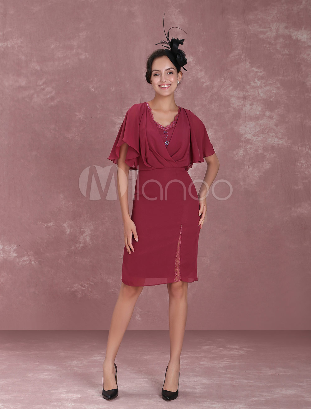 Buy Mother Of The Bride Dresses Chiffon V Neck Short Pleated Back Split Butterfly Sleeve Maroon Sheath Wedding Guest Dresses for $106.24 in Milanoo store