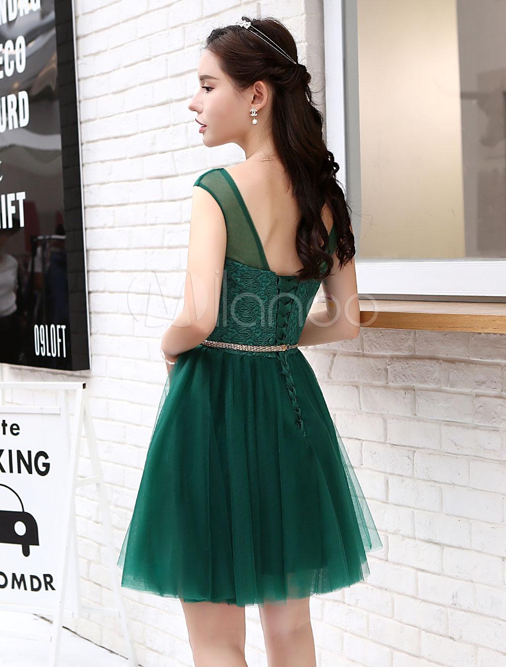 dcca6ed478 ... Short Homecoming Dresses Tulle Dark Green Illusion Sash Mini Cocktail  Dresses-No.5 ...
