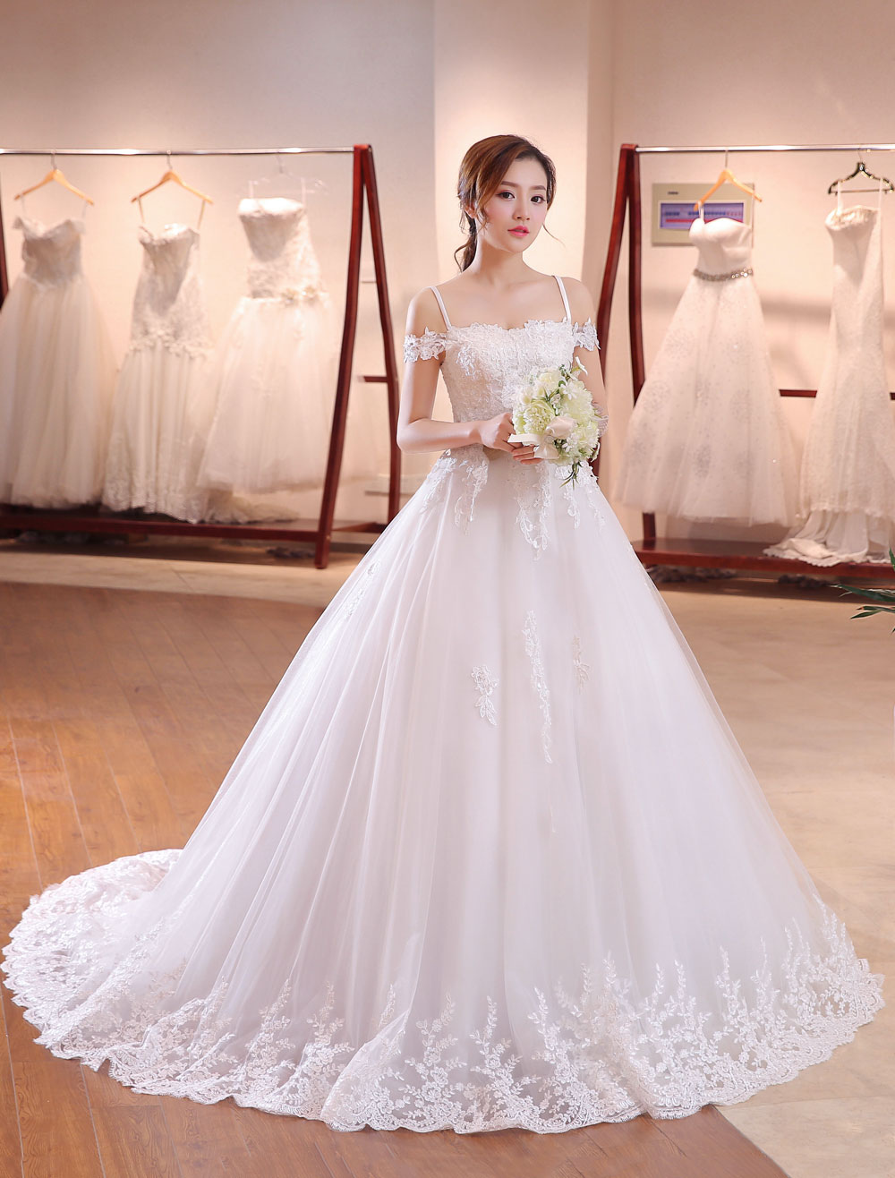 Buy Princess Wedding Dresses Off The Shoulder Bridal Dress Straps Lace Applique Beading Wedding Gown With Long Train for $115.49 in Milanoo store
