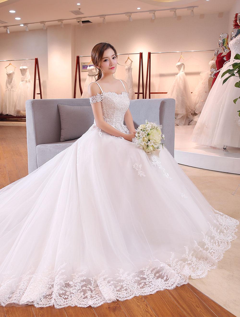 6bae4b0c0 ... Vestido de novia princesa con escote de hombros caídos De banda de  encaje con manga corta ...