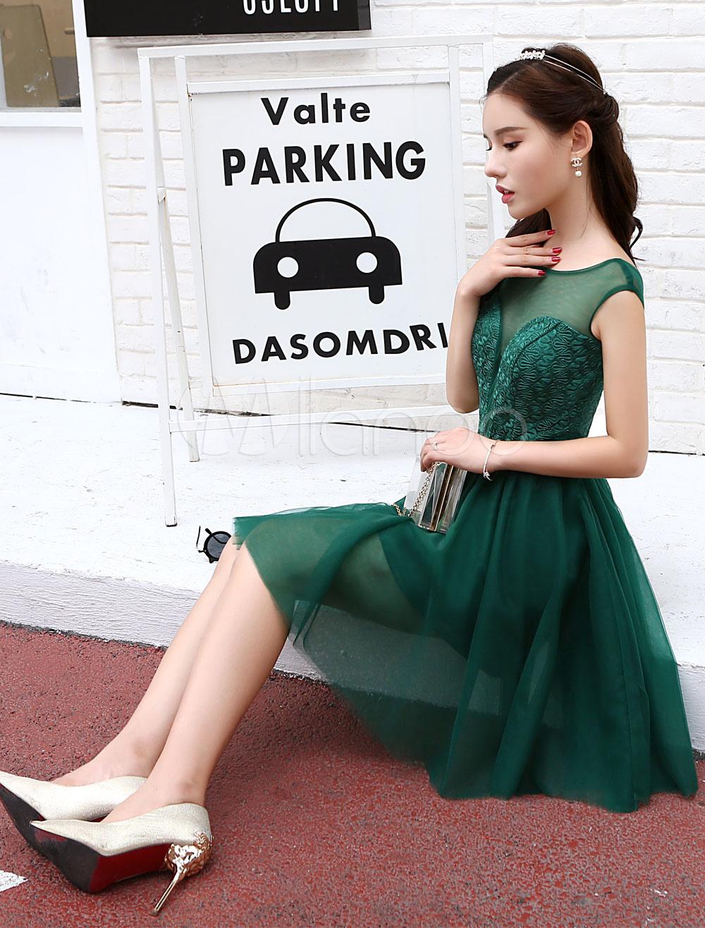33b01ebea9 ... Short Homecoming Dresses Tulle Dark Green Illusion Sash Mini Cocktail  Dresses-No.4 ...
