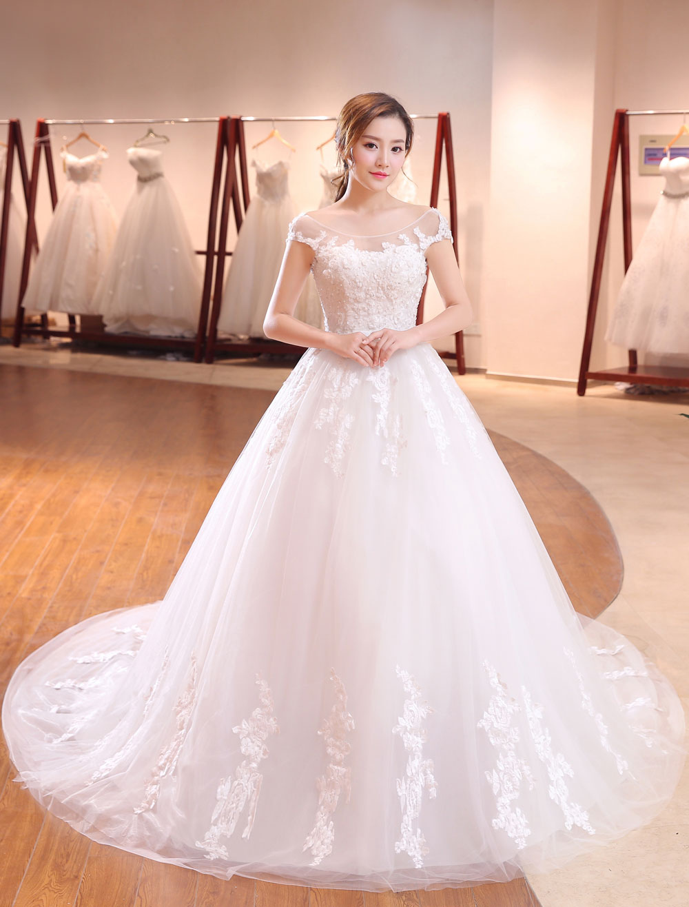 Buy Princess Wedding Dresses Ivory Lace Applique Scoop Neck Illusion Bow Sash Bridal Gown With Long Train for $140.79 in Milanoo store