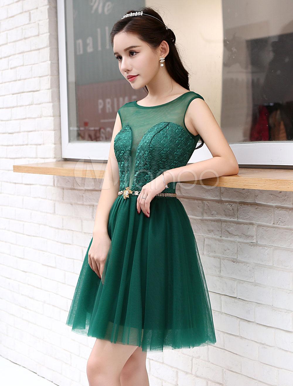 Dark Green Short Cocktail Dress
