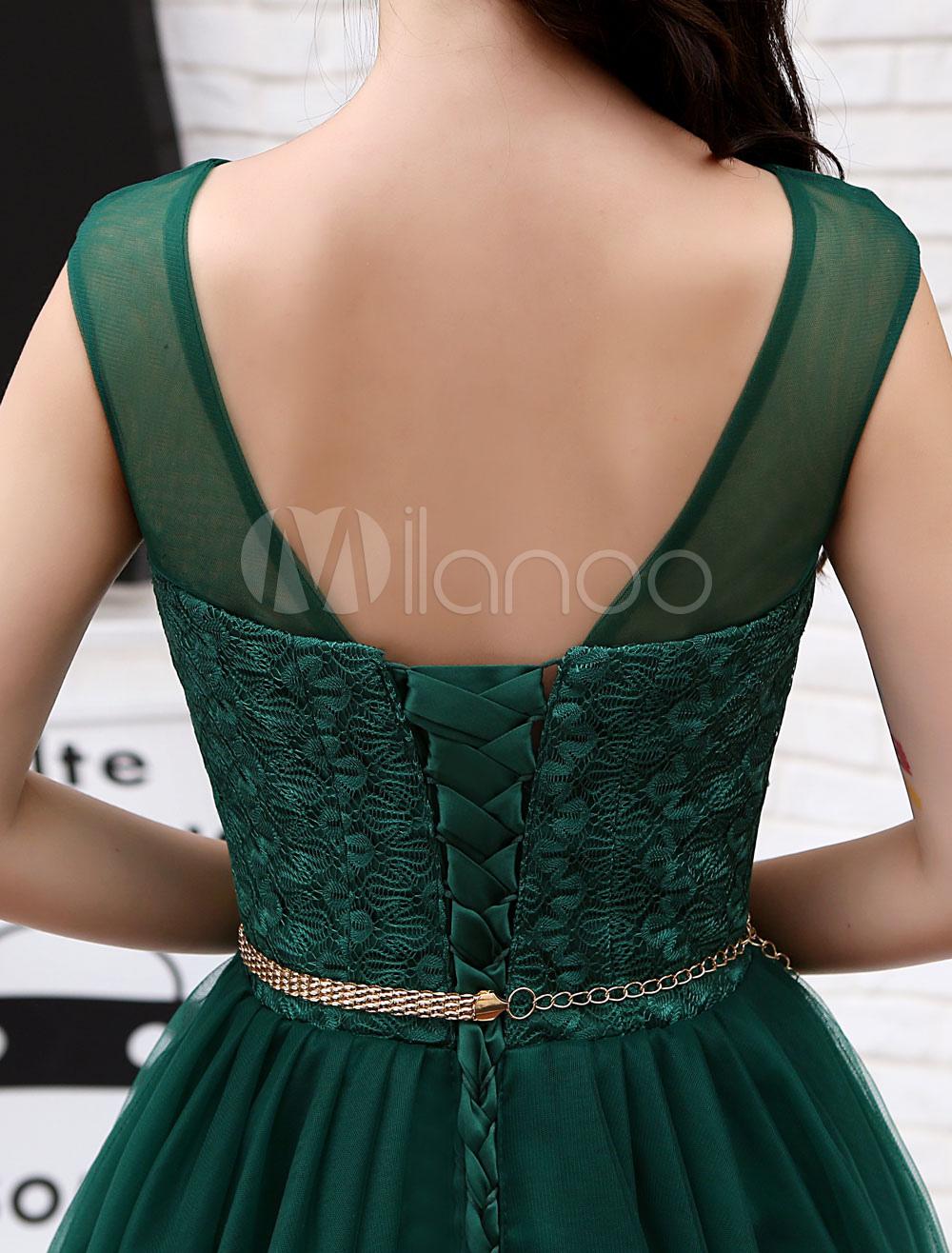 864c49860a ... Short Homecoming Dresses Tulle Dark Green Illusion Sash Mini Cocktail  Dresses-No.8