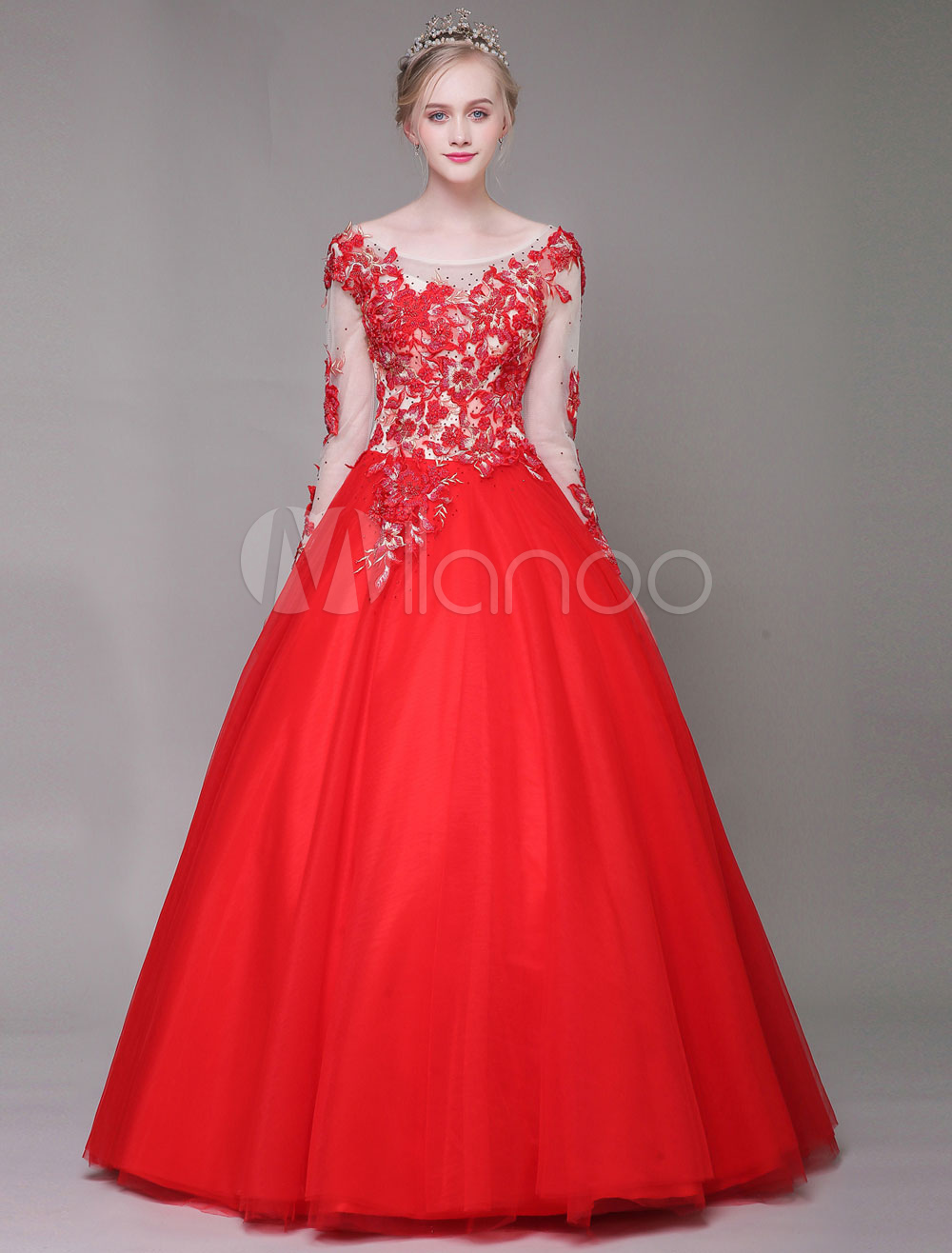 Buy Red Quinceanera Dresses Luxury Long Sleeve Flower Embroidered Rhinestones Illusion Floor Length Princess Pageant Dresses for $254.99 in Milanoo store