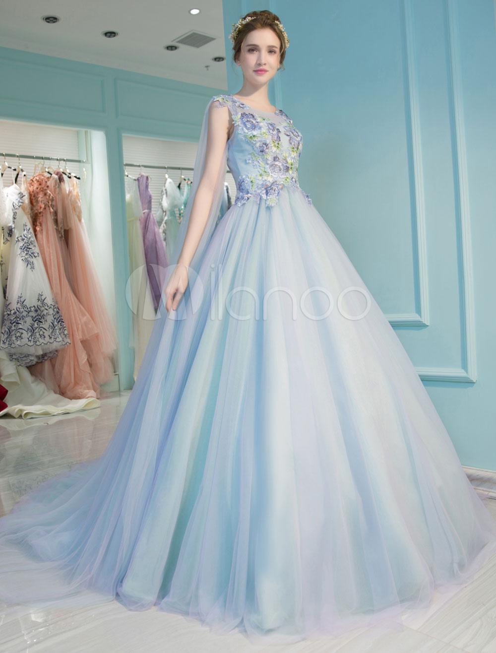 prinzessin quinceanera kleider luxus pastell blaue blumen gestickte  schlüsselloch watteau zug damen festzug kleider