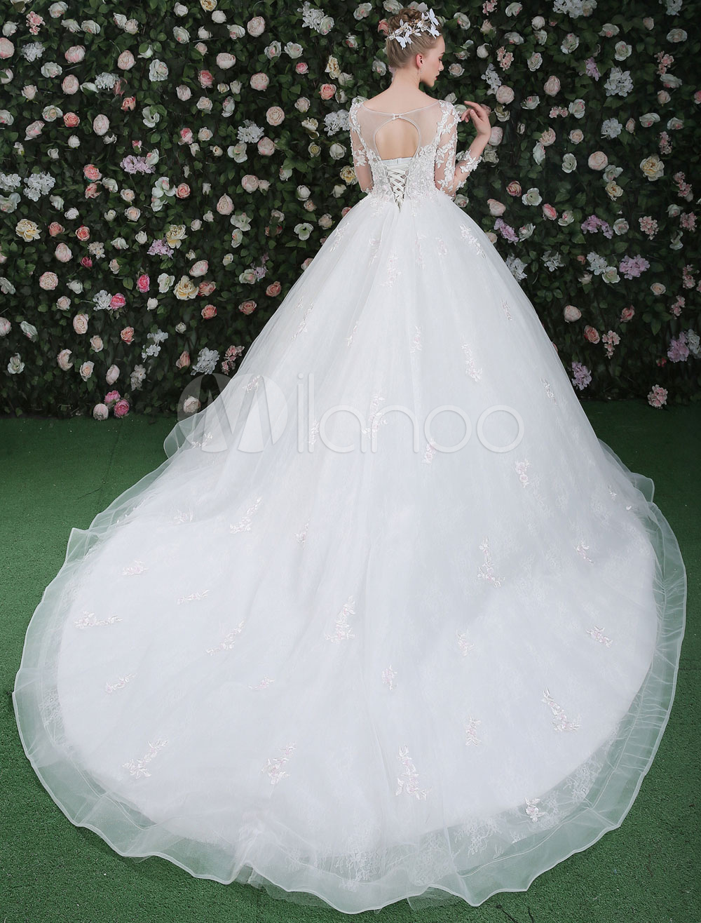 Ball Gown Wedding Dresses Long Sleeve Luxury Princess Lace Flowers ...