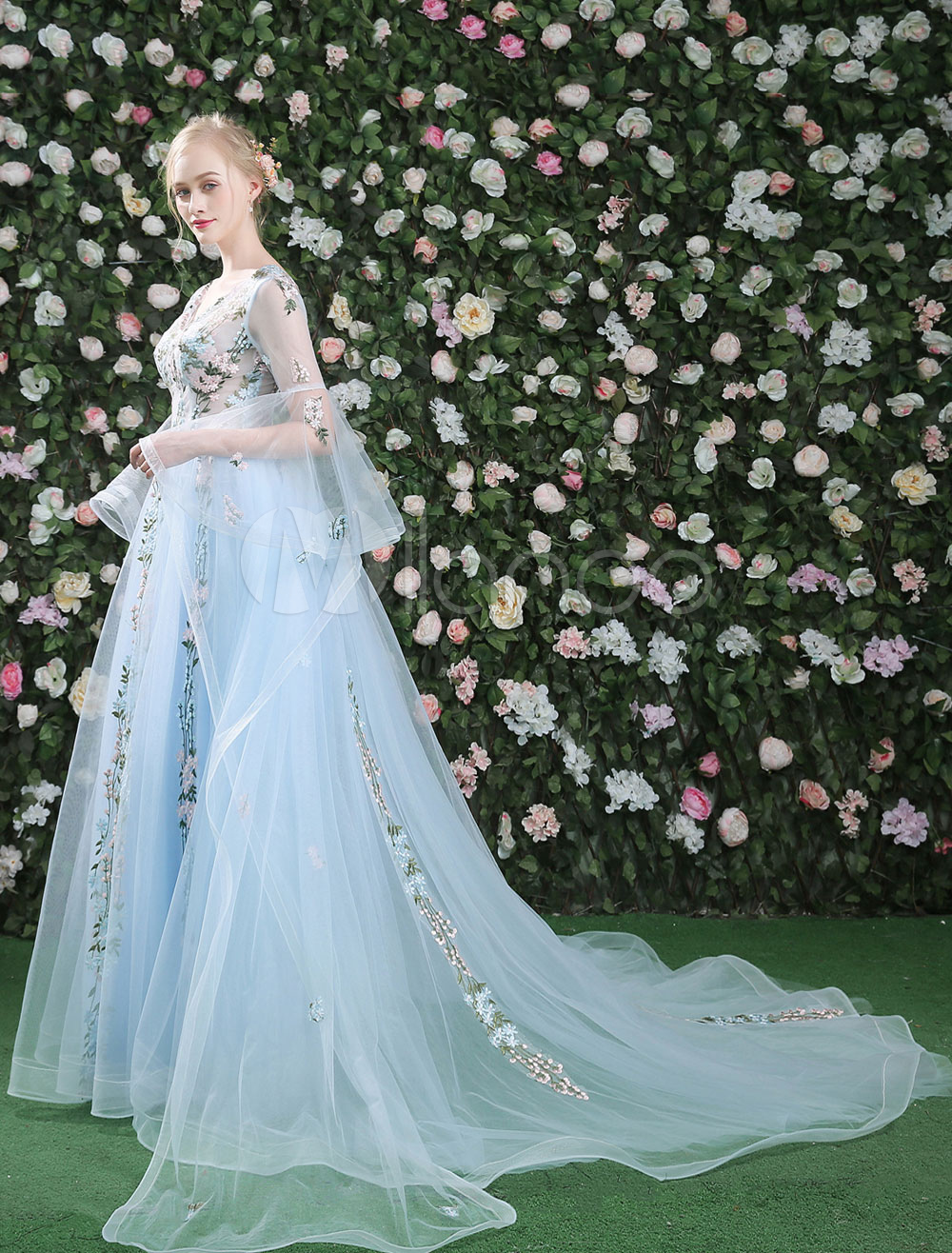 Floral Prom Dresses Luxury Long Bell Sleeve V Neck Tulle Illusion ...