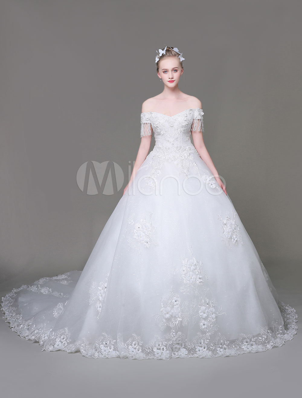 Luxury Wedding Dresses Ball Gown Off The Shoulder Princess Tassels Beaded Lace Applique White
