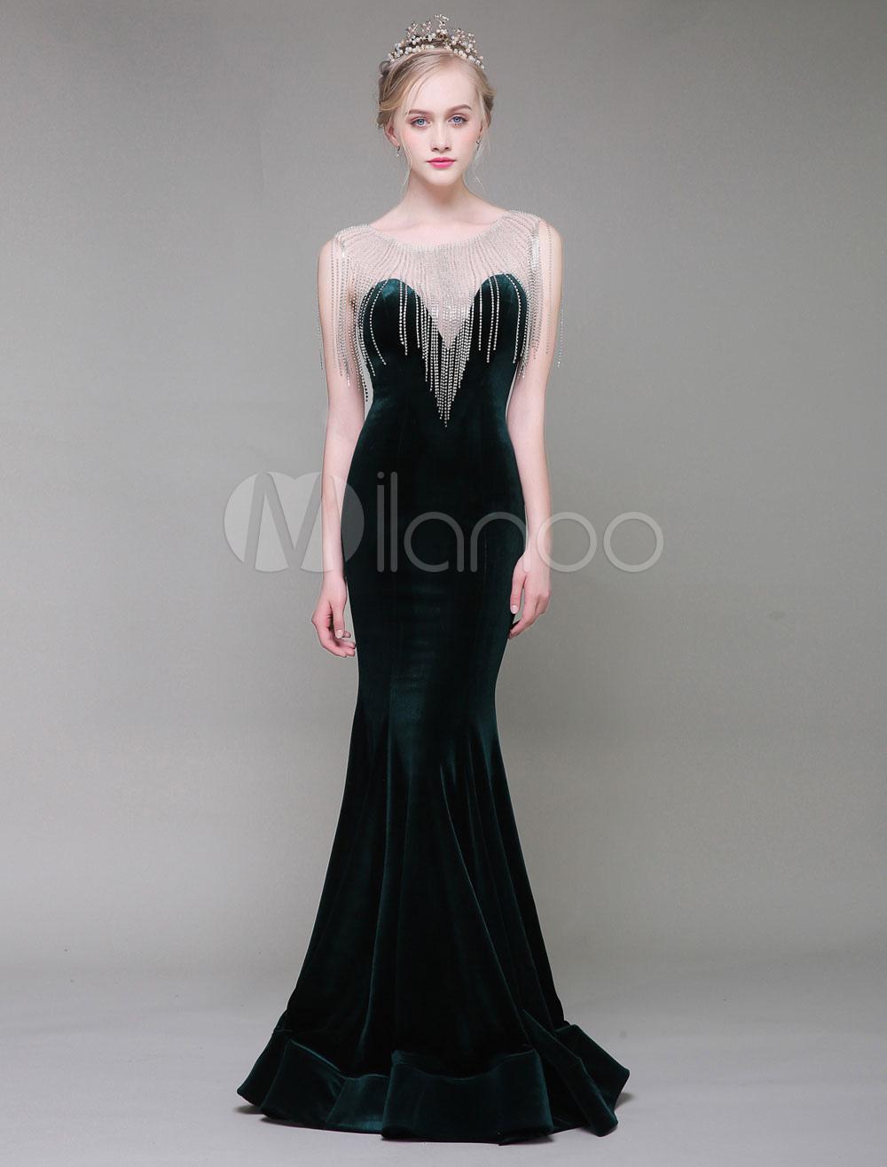 Velvet Evening Dresses Luxury Mermaid Dark Green Rhinestones Tassels ...