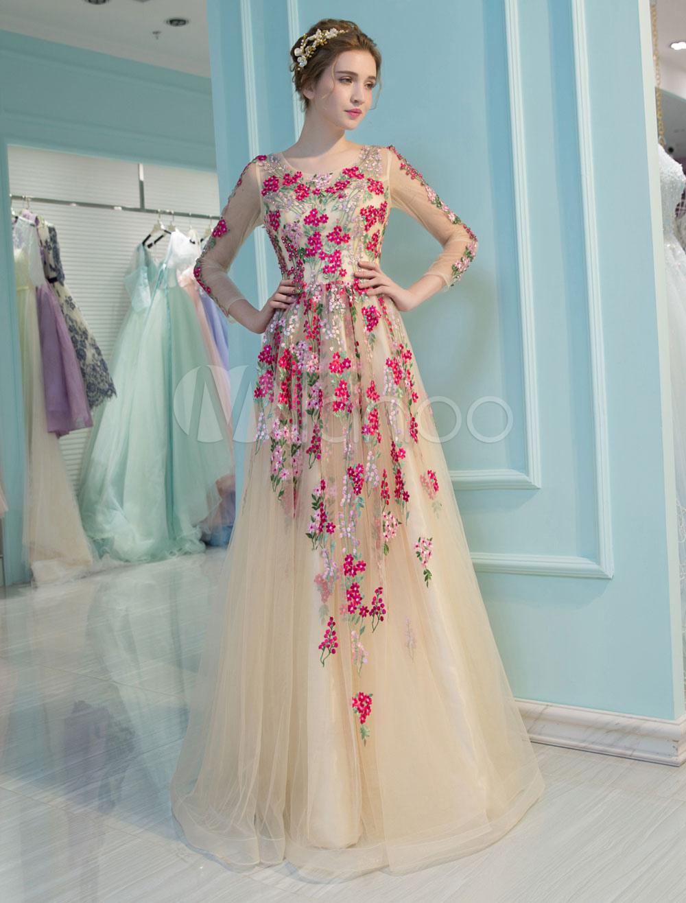 Champagner Abschlussball Kleider Luxuxlange Hulsen Heimkehr Kleid Blumen Gestickte Rhinestones Wulstige Fussboden Langen Gelegenheits Kleid Milanoo Com
