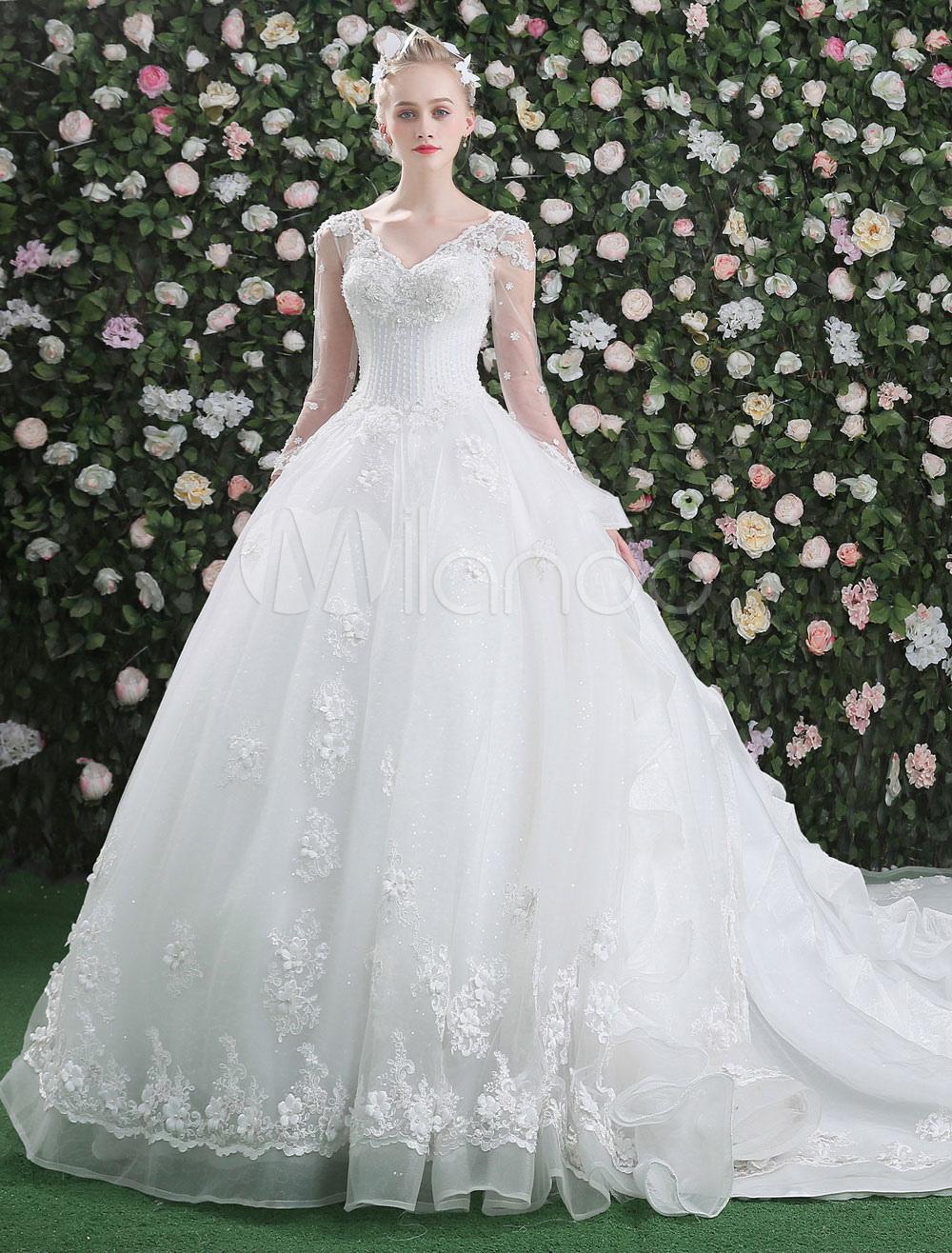 Vestidos de novia princesa con manga