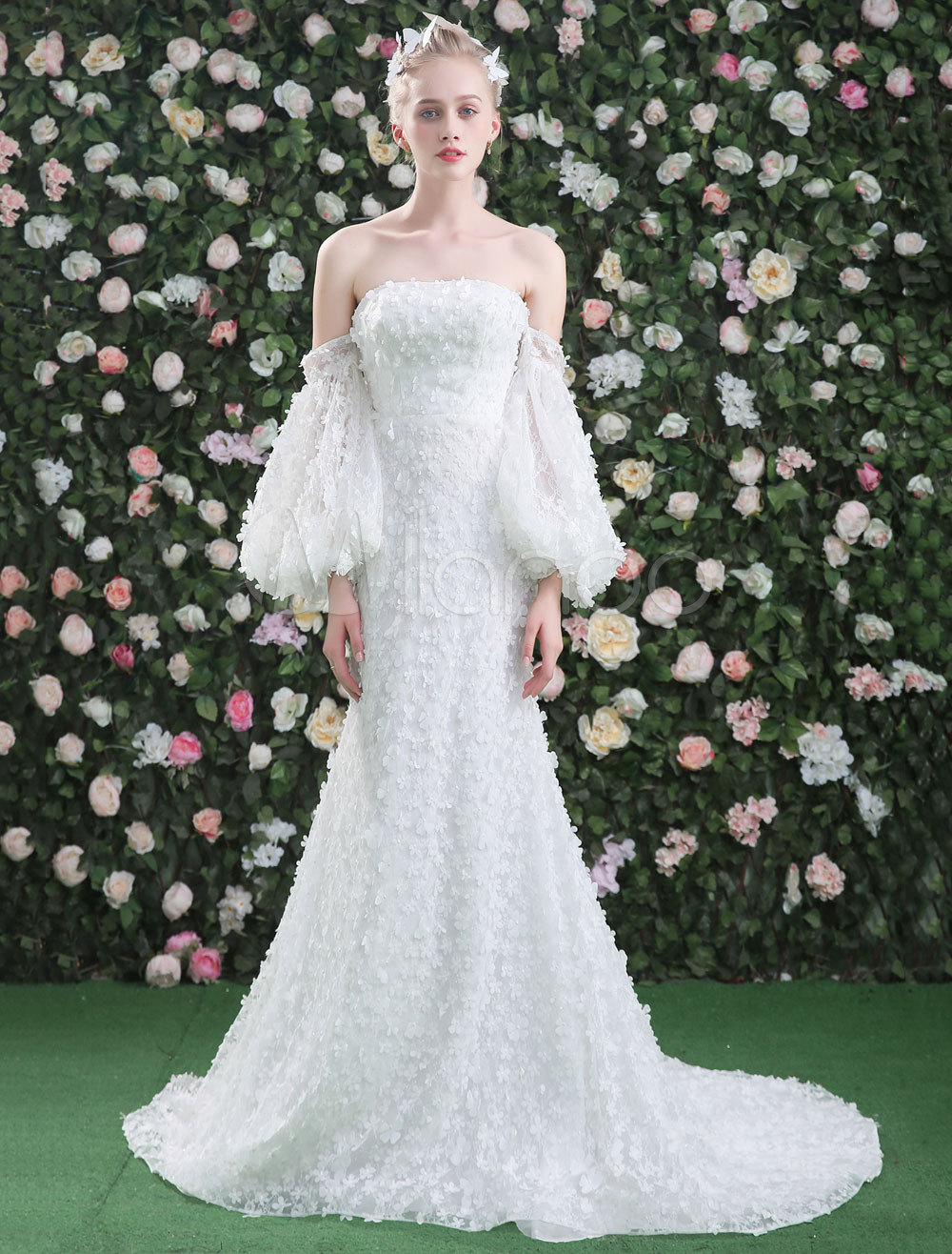 Lace Wedding Dresses Flowers Boho Balloon Sleeve Strapless White ...
