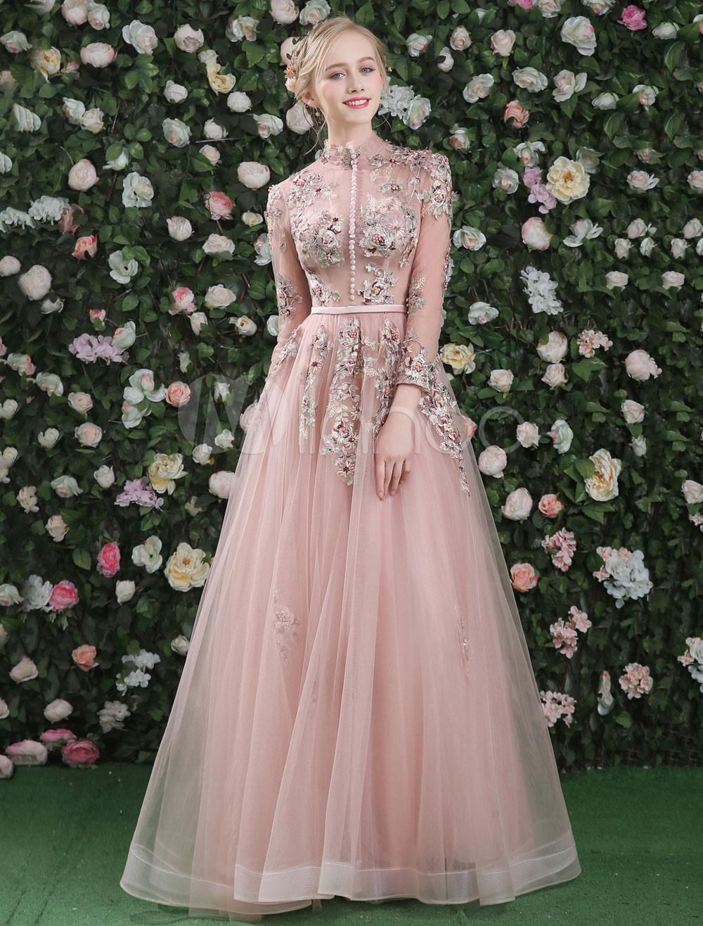 luxus prom kleider lace blumen gestickt blush rosa lange. Black Bedroom Furniture Sets. Home Design Ideas