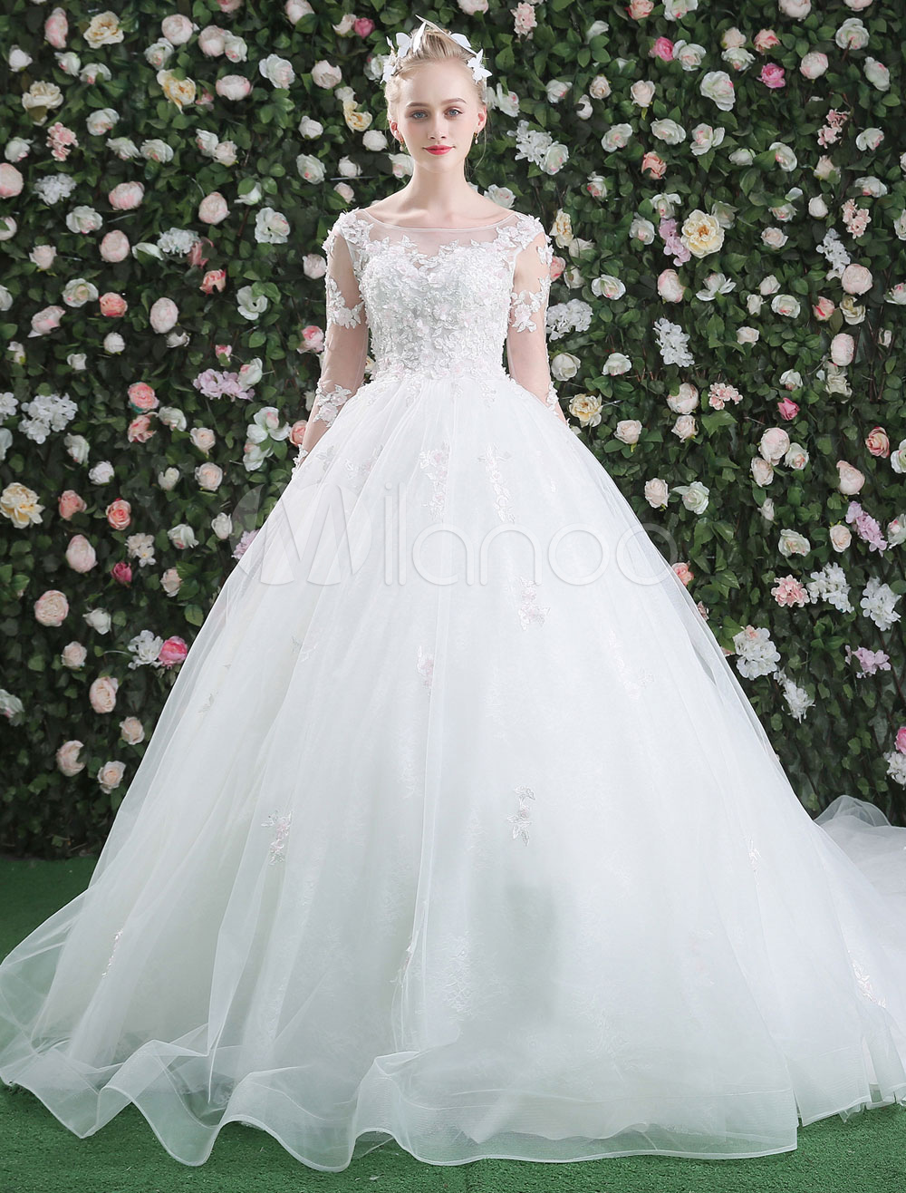 69471070c ... Ball Gown Wedding Dresses Long Sleeve Luxury Princess Lace Flowers  Beading White Bridal Gown With Long ...