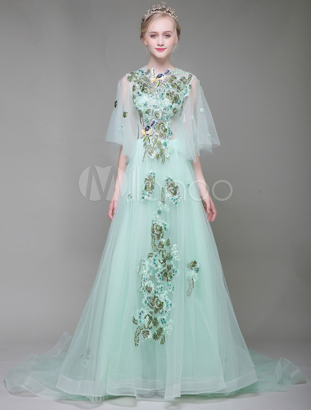 Luxury Prom Dresses Long Flowers Embroidered Butterfly Sleeve Pastel