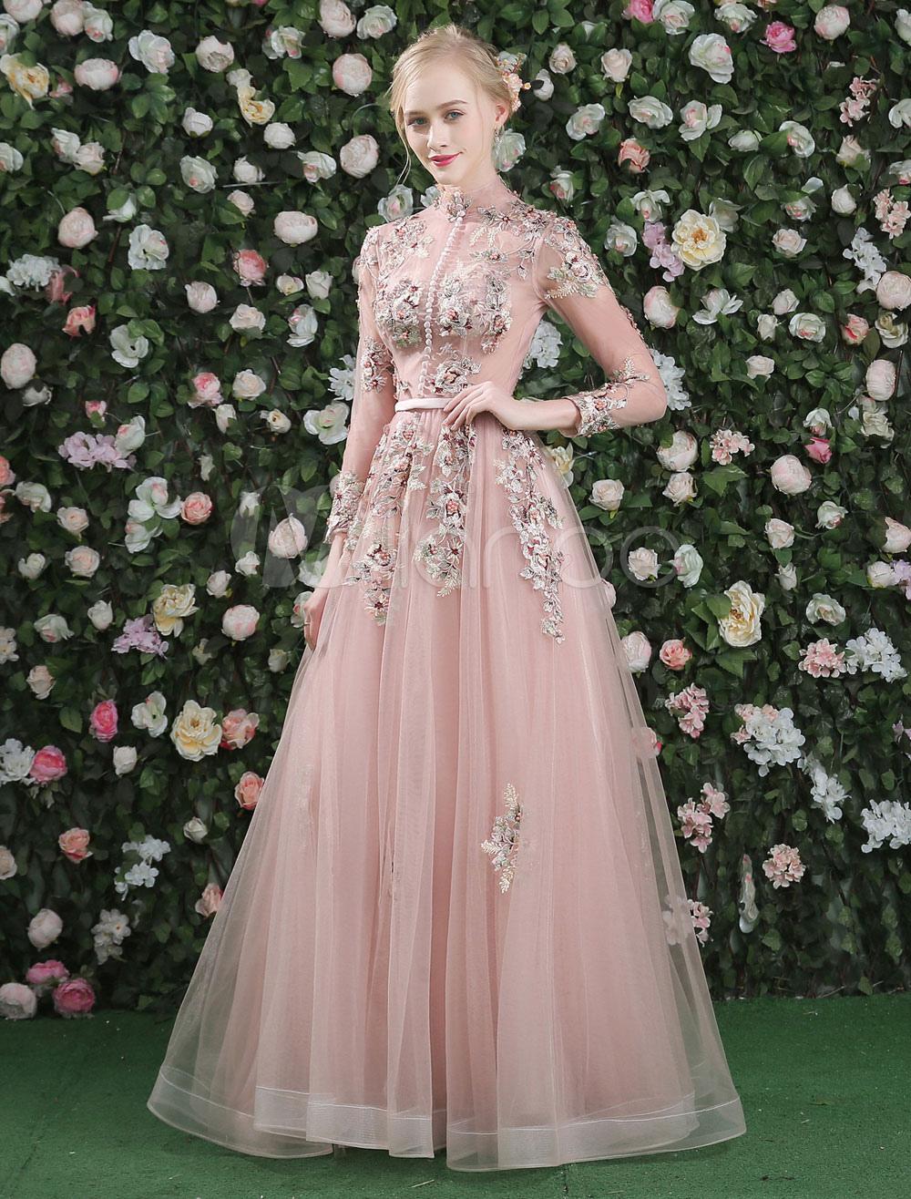 Luxus Prom Kleider Lace Blumen gestickt Blush rosa lange Ärmel ...