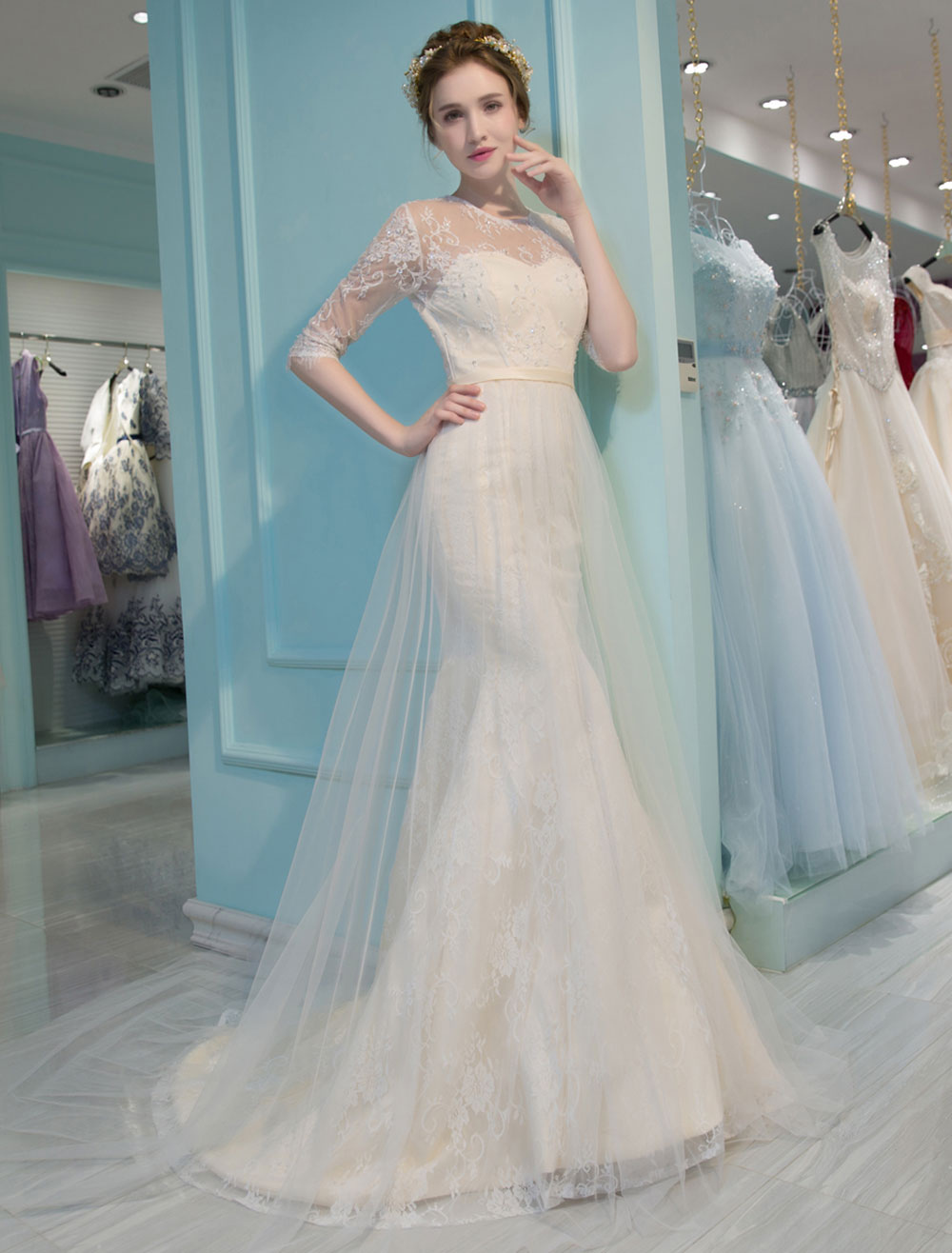 Mermaid Wedding Dresses Lace Half Sleeve Illusion Sweetheart Beading ...