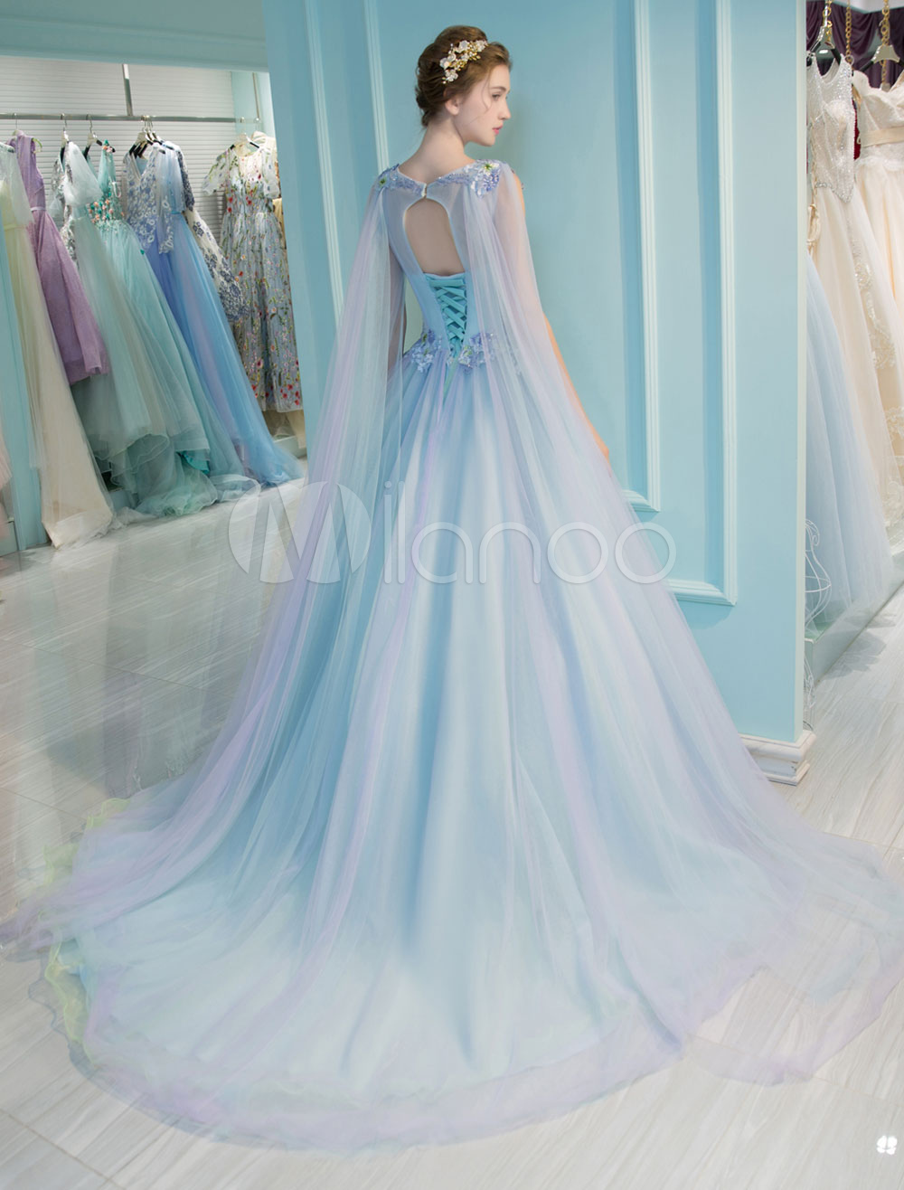 Princess Quinceanera Dresses Luxury Pastel Blue Flowers Embroidered ...