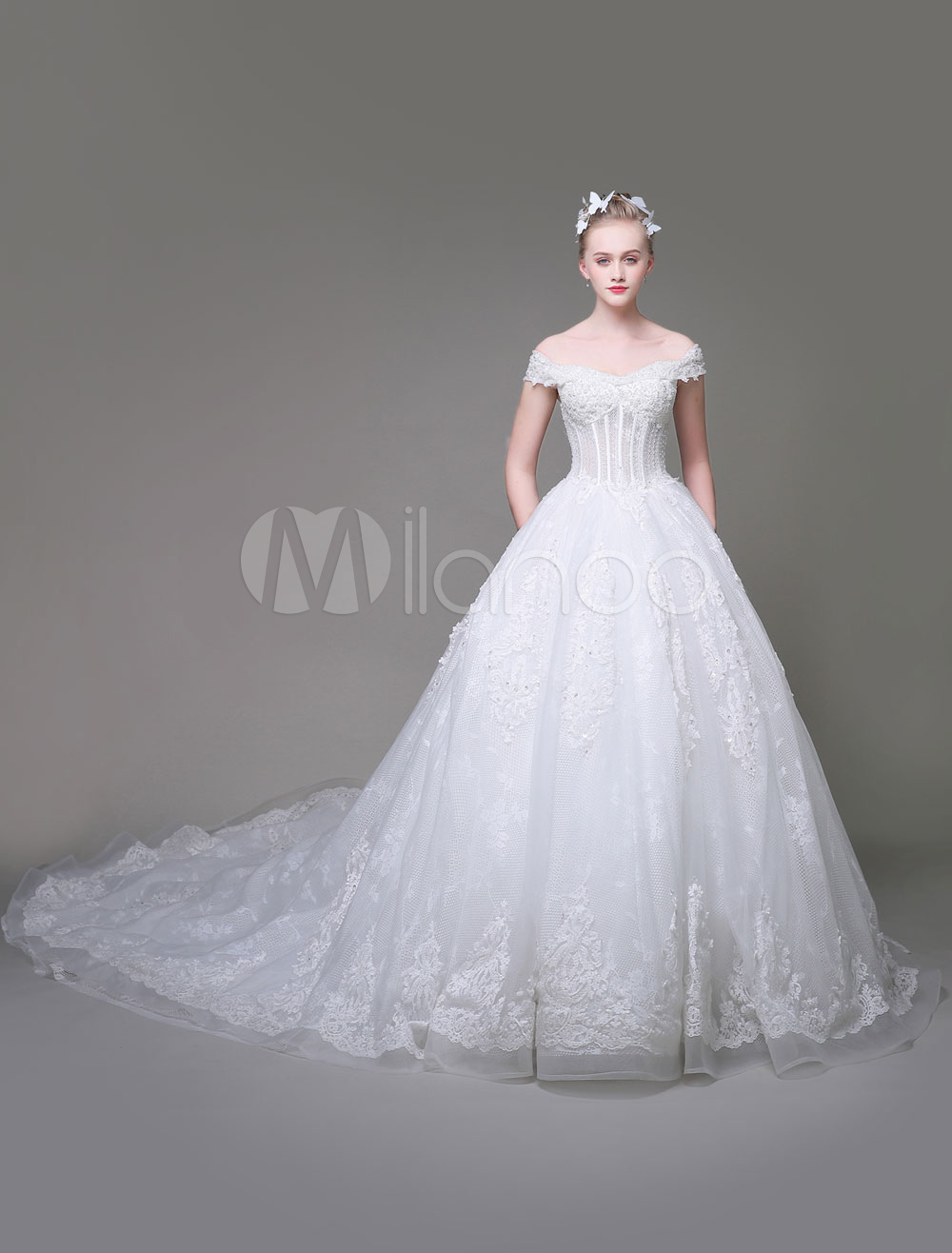 d0ee384895e Luxury Wedding Dresses Princess Ball Gown Bridal Dress Off The Shoulder  Lace Applique White Boned Wedding ...