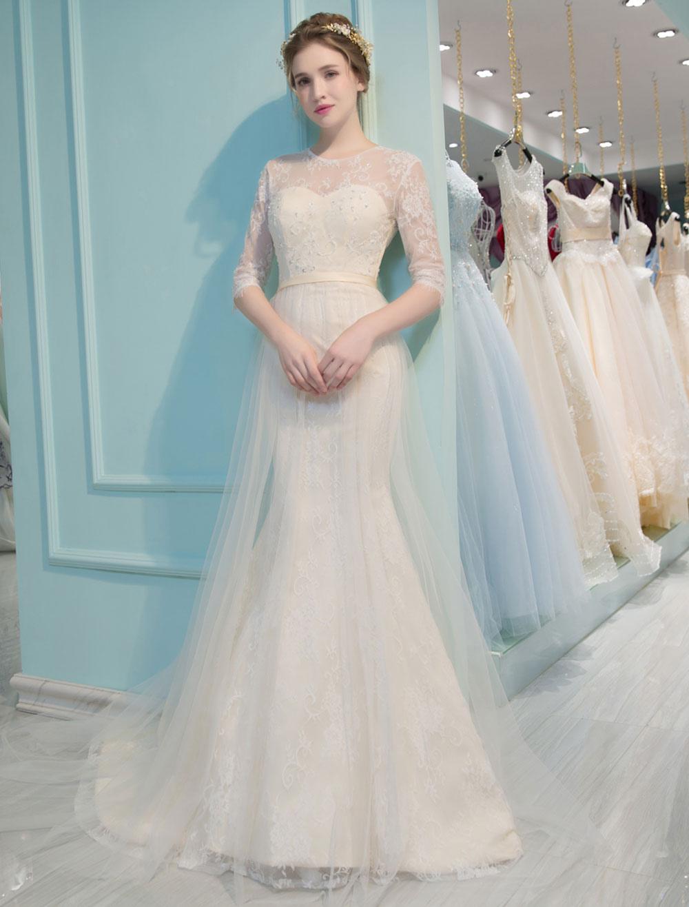 Vestido de novia de sirena cintura natural De banda de encaje con 1 ...