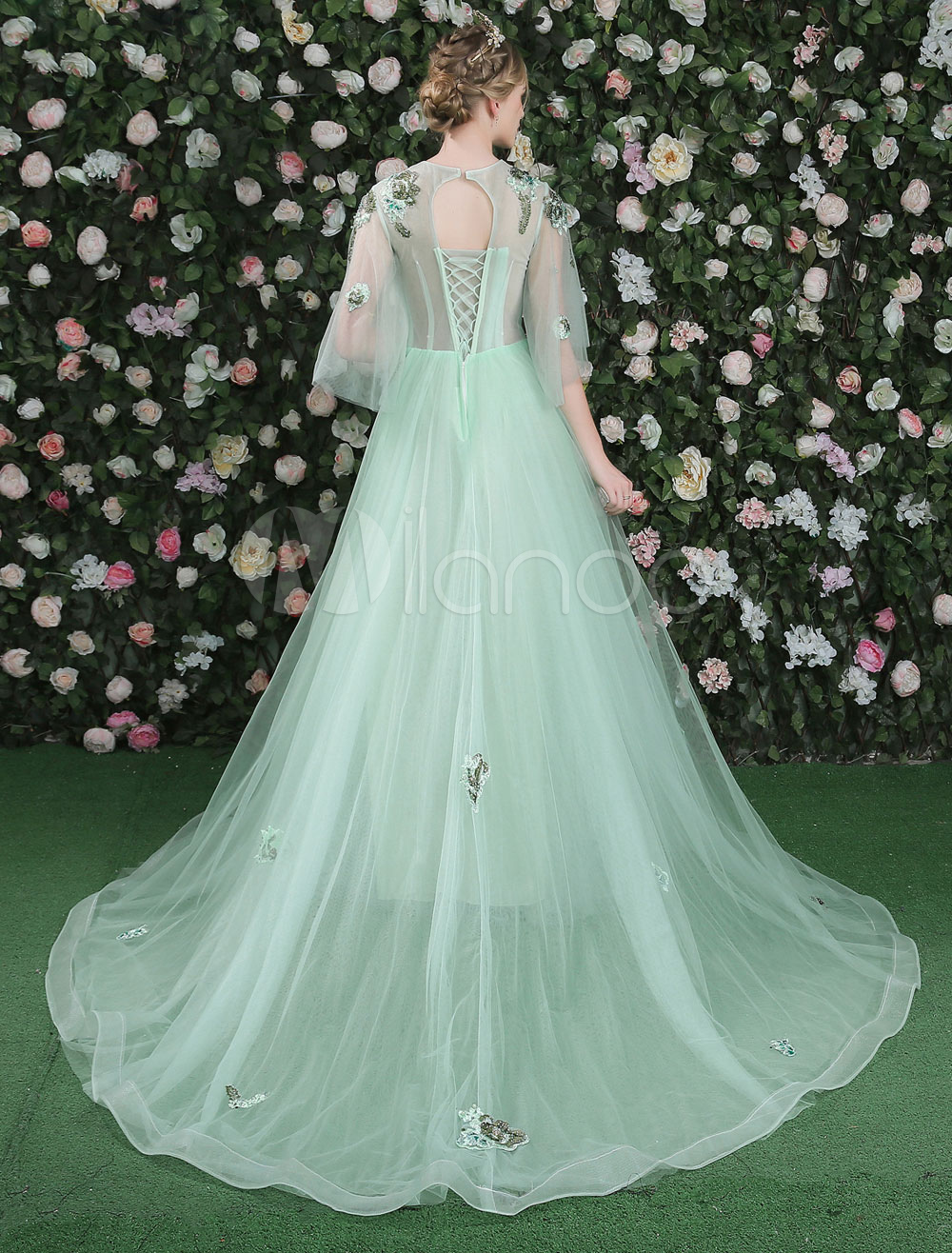 Luxury Prom Dresses Long Flowers Embroidered Butterfly Sleeve Pastel ...