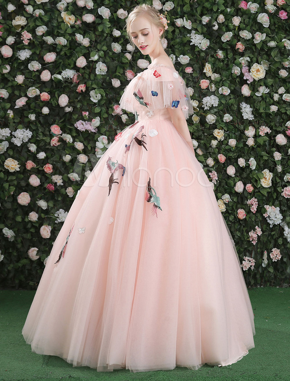5ebc4f862ce ... Luxury Prom Dresses Long Soft Pink Off The Shoulder Lace Embroidered  Butterfly Sleeve Tulle Floor Length ...