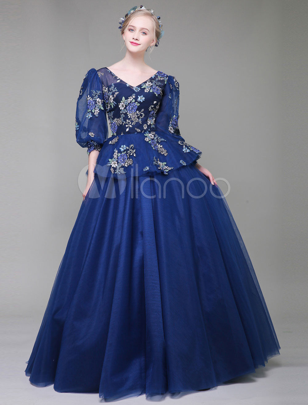Luxury Quinceanera Dresses Dark Navy V Neck Half Sleeve Floral Print Tulle Floor Length Princess Pageant Dresses