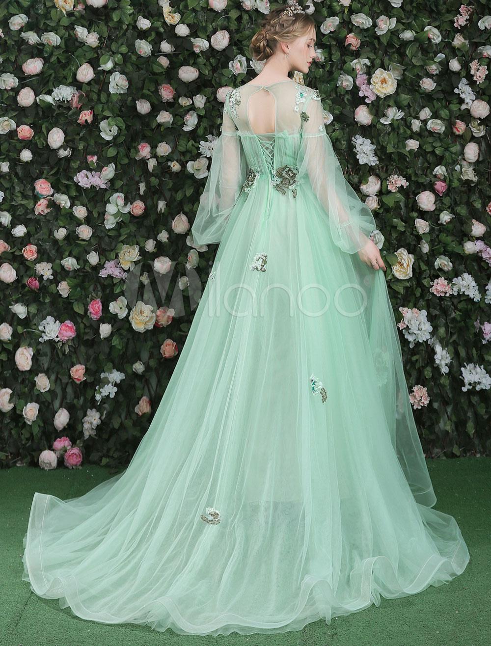 Luxus Prom Kleider Langarm Blumen Bestickt Pastell Grüne Strass ...