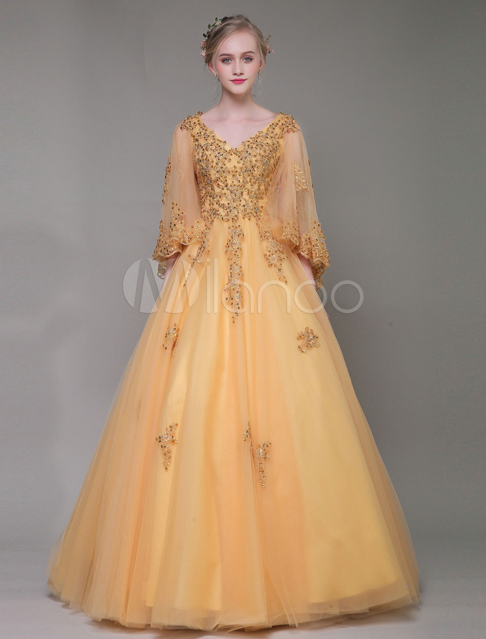 81eaa431ace Luxury Prom Dresses Light Gold Lace Applique Beaded V Neck Butterfly Sleeve  Tulle Floor Length Princess ...