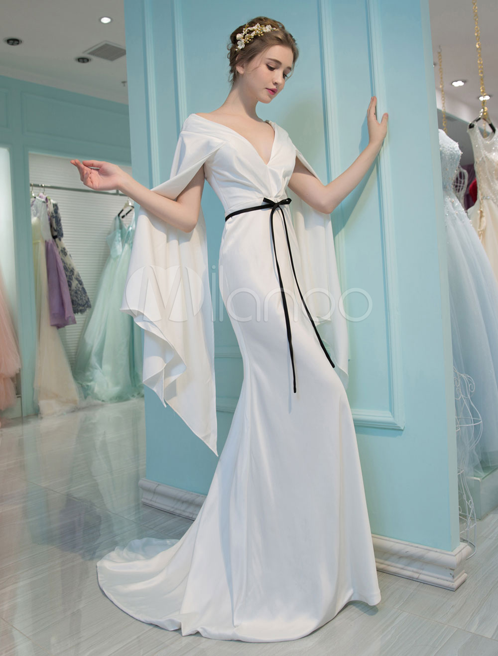 Luxury Evening Dresses V Neck Long Sleeve Mermaid Ivory Ribbon Sash ...