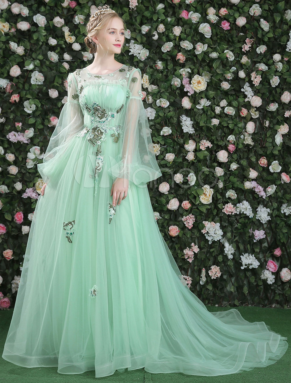 Luxury Prom Dresses Long Sleeve Flowers Embroidered Pastel Green ...