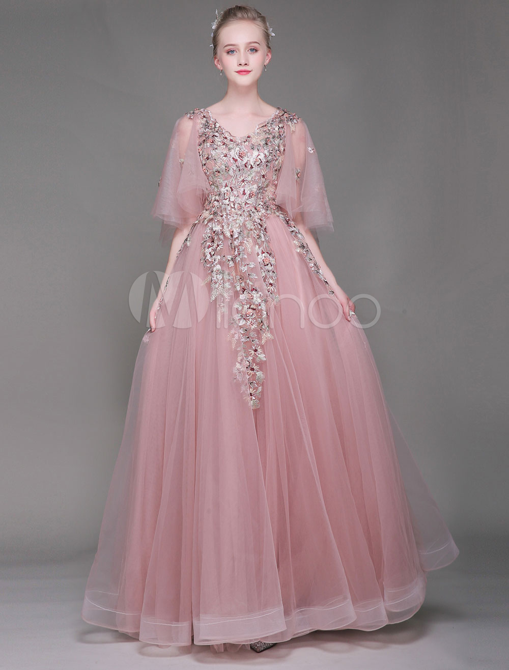 Lange prom Kleider Luxus Blumen Perlen Schmetterling Ärmel ...