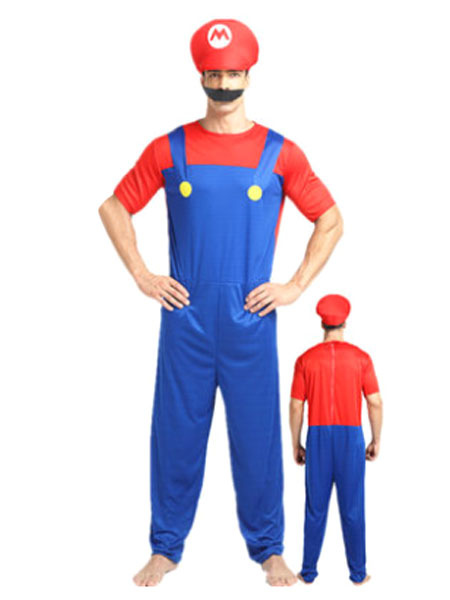 Men's Halloween Costume Red Super Mario Bros Two Tone Jumpsuit With Hat And Bread